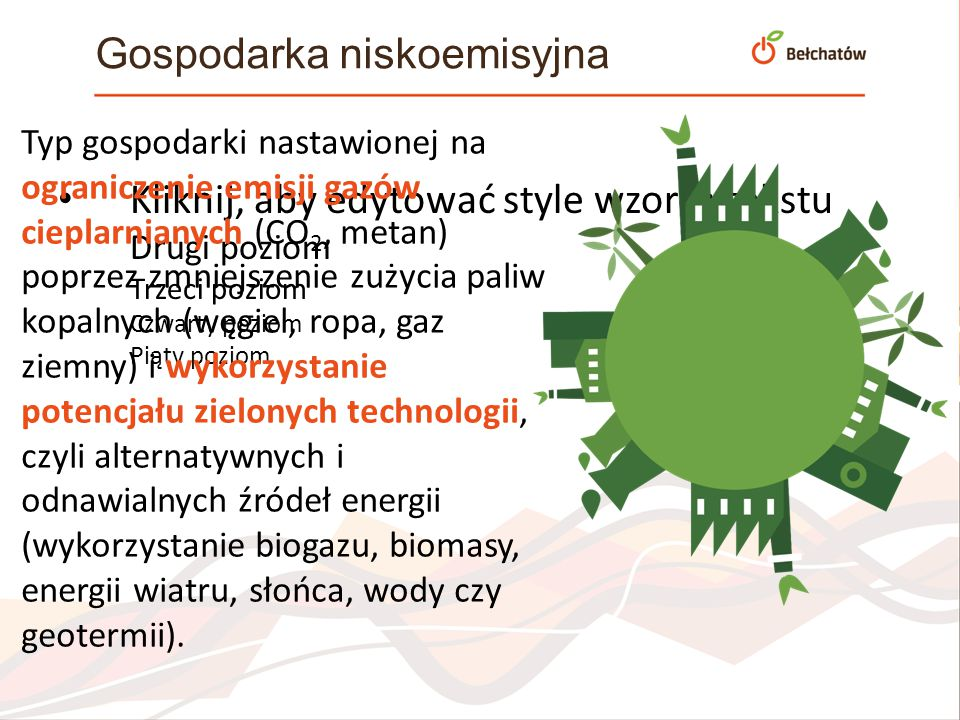 Kliknij, aby edytować style wzorca tekstu Drugi poziom Trzeci poziom Czwarty poziom Piąty poziom Gospodarka niskoemisyjna Typ gospodarki nastawionej n