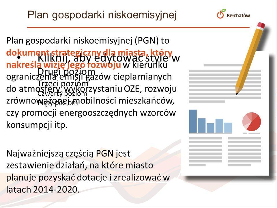 Kliknij, aby edytować style wzorca tekstu Drugi poziom Trzeci poziom Czwarty poziom Piąty poziom Plan gospodarki niskoemisyjnej Plan gospodarki niskoe