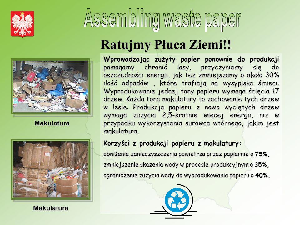 Wprowadzając zużyty papier ponownie do produkcji pomagamy chronić lasy, przyczyniamy się do oszczędności energii, jak też zmniejszamy o około 30% ilość odpadów, które trafiają na wysypiska śmieci.