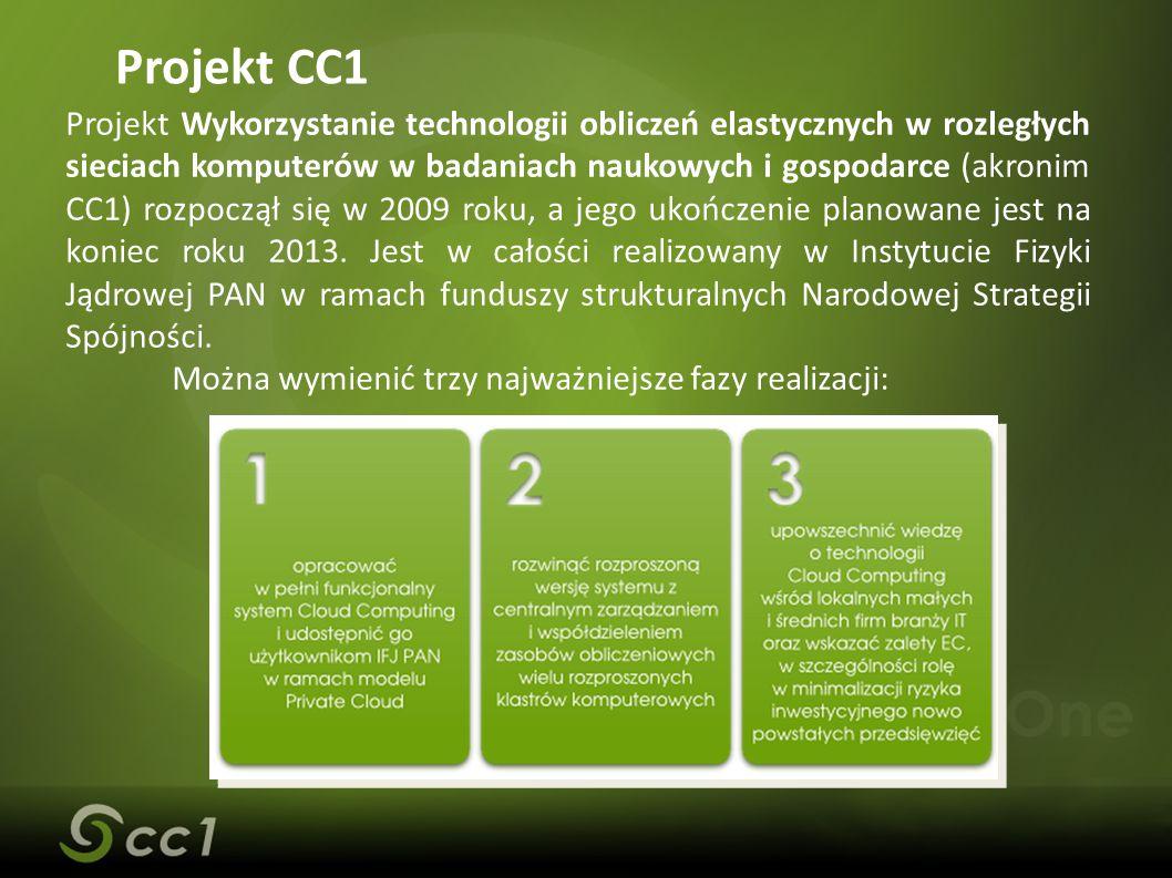 Projekt CC1 Projekt Wykorzystanie technologii obliczeń elastycznych w rozległych sieciach komputerów w badaniach naukowych i gospodarce (akronim CC1) rozpoczął się w 2009 roku, a jego ukończenie planowane jest na koniec roku 2013.