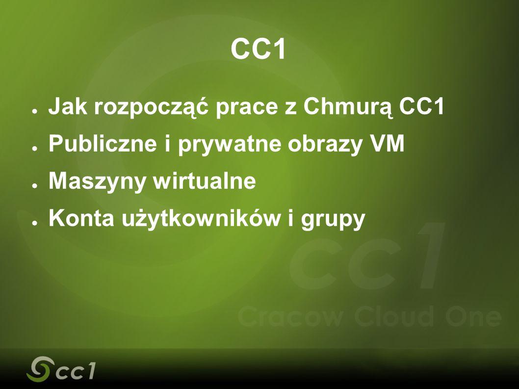 ● Jak rozpocząć prace z Chmurą CC1 ● Publiczne i prywatne obrazy VM ● Maszyny wirtualne ● Konta użytkowników i grupy CC1