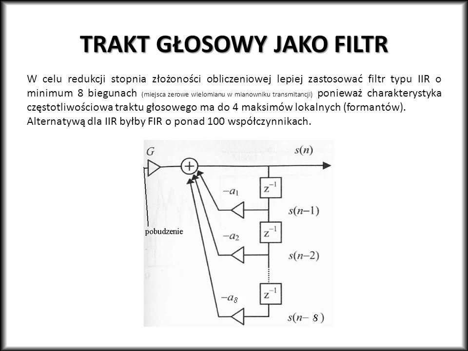 TRAKT GŁOSOWY JAKO FILTR W celu redukcji stopnia złożoności obliczeniowej lepiej zastosować filtr typu IIR o minimum 8 biegunach (miejsca zerowe wielo