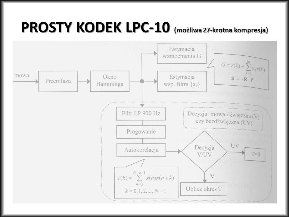 PROSTY KODEK LPC-10 (możliwa 27-krotna kompresja)