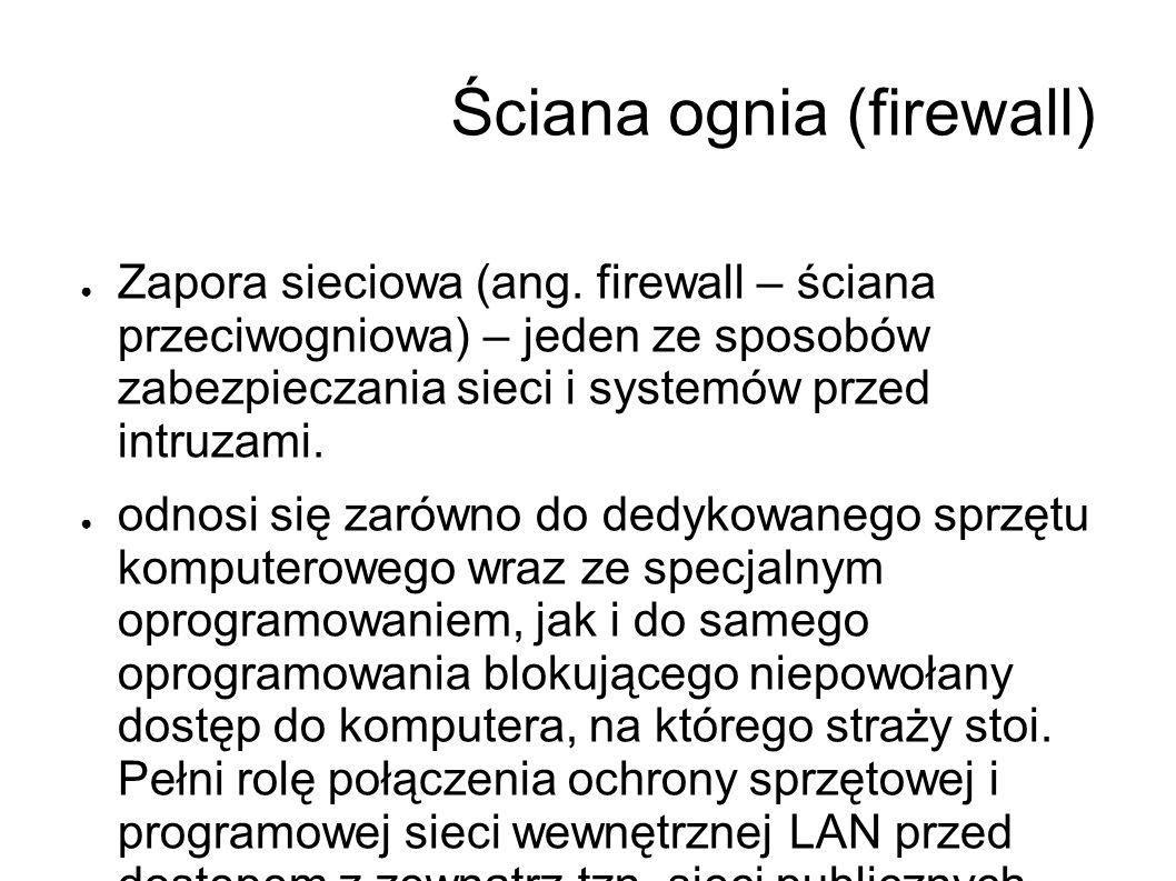 Ściana ognia (firewall) ● Zapora sieciowa (ang.
