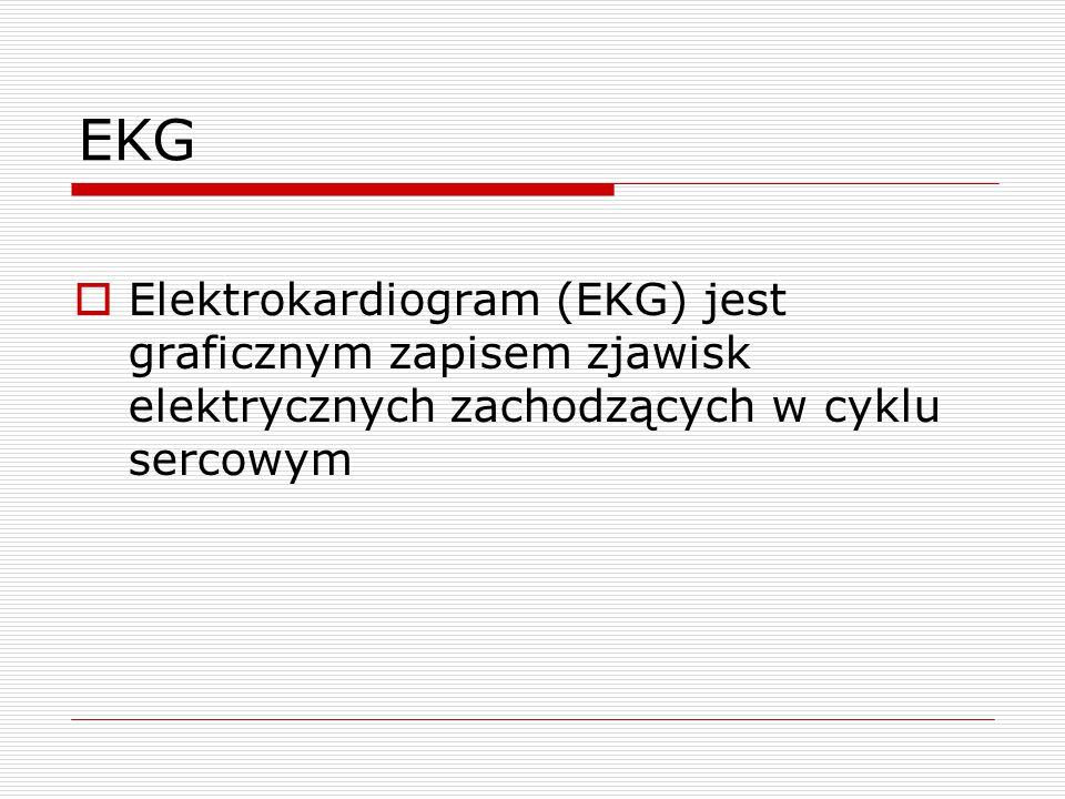 EKG  Elektrokardiogram (EKG) jest graficznym zapisem zjawisk elektrycznych zachodzących w cyklu sercowym