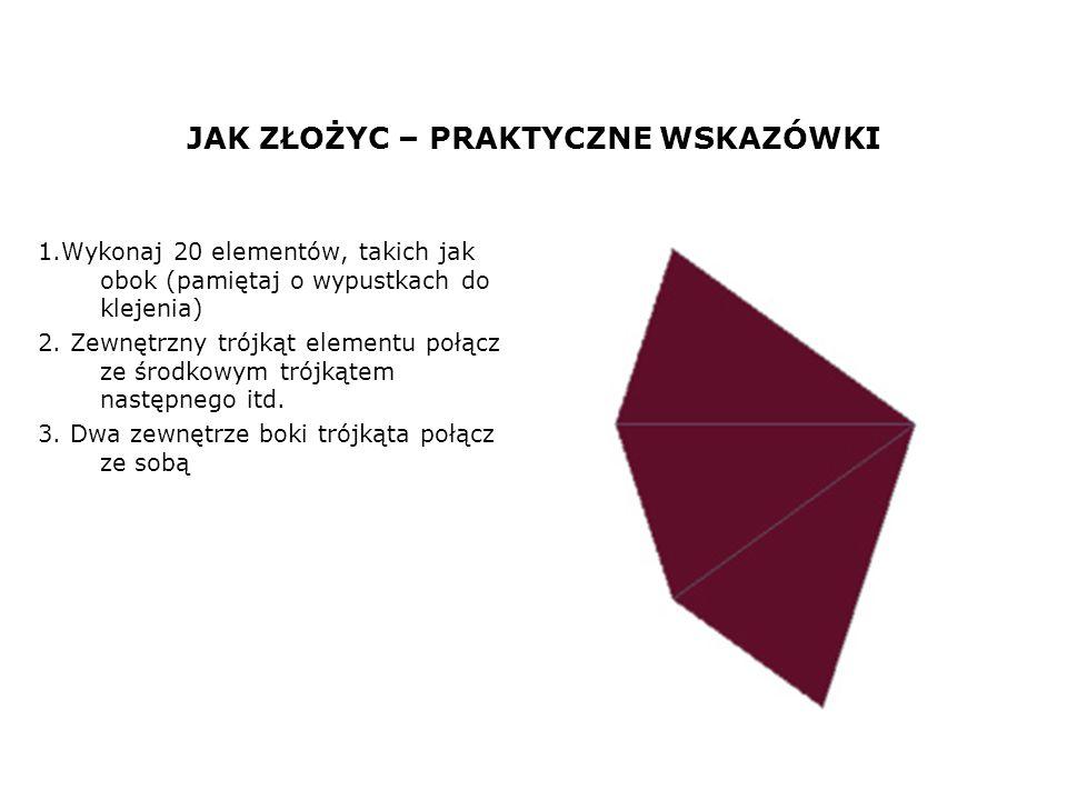 JAK ZŁOŻYC – PRAKTYCZNE WSKAZÓWKI 1.Wykonaj 20 elementów, takich jak obok (pamiętaj o wypustkach do klejenia) 2. Zewnętrzny trójkąt elementu połącz ze