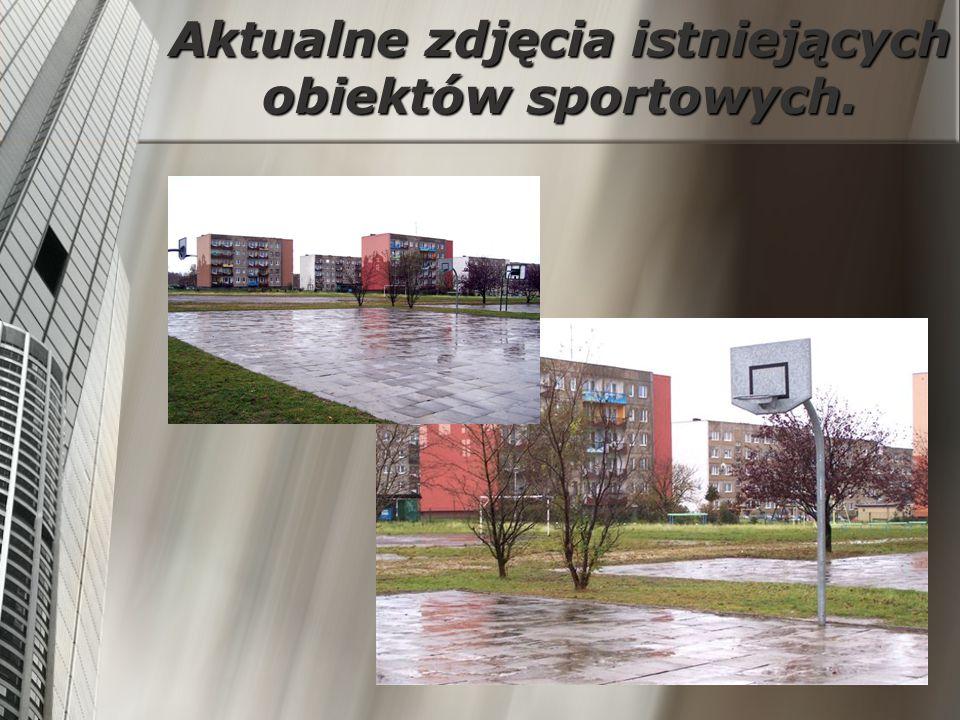 Aktualne zdjęcia istniejących obiektów sportowych.
