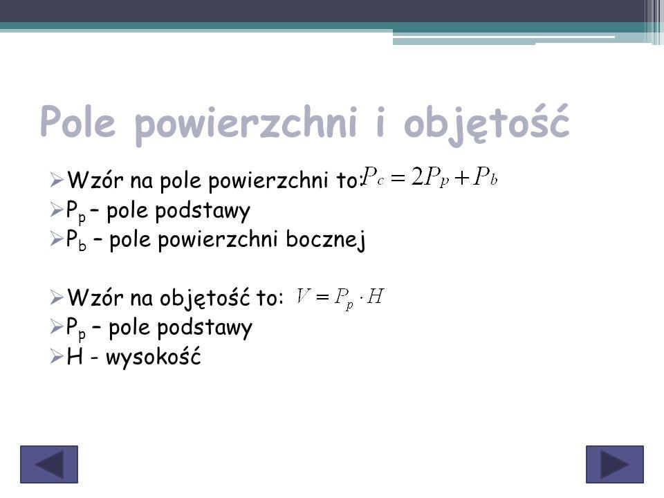 Pole powierzchni i objętość  Wzór na pole powierzchni to:  P p – pole podstawy  P b – pole powierzchni bocznej  Wzór na objętość to:  P p – pole
