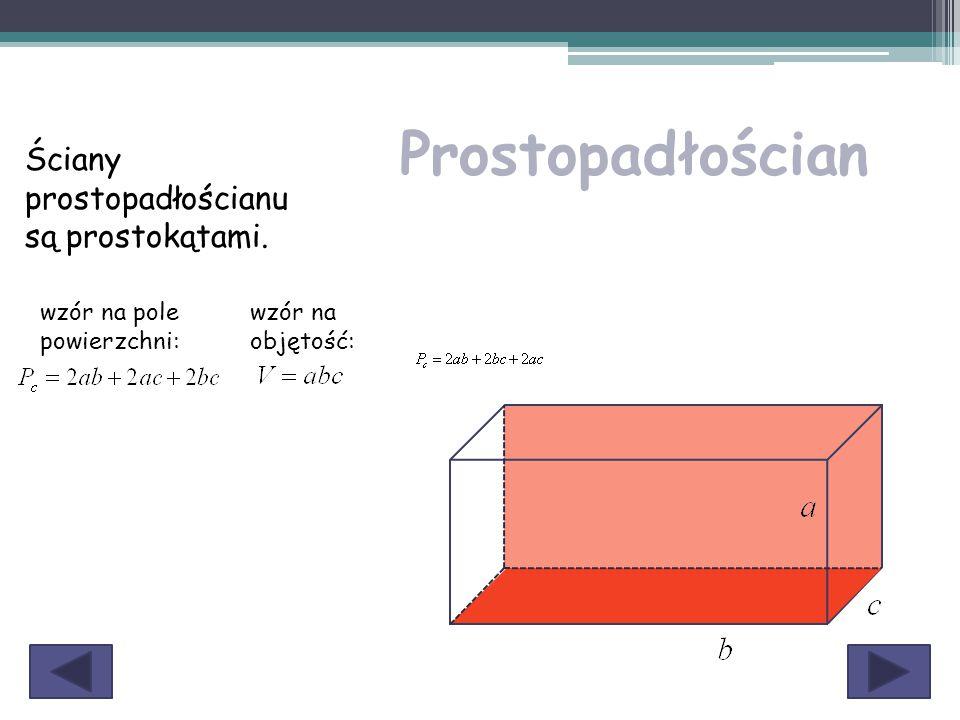 Prostopadłościan Ściany prostopadłościanu są prostokątami. wzór na pole powierzchni: wzór na objętość: