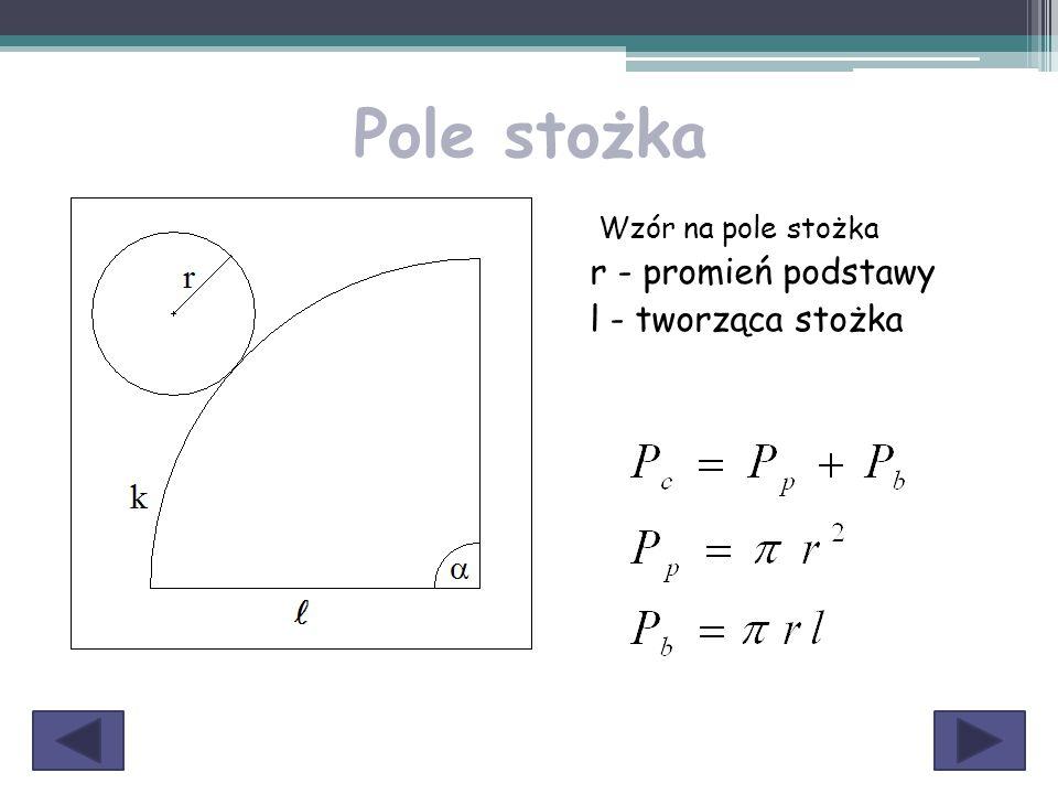 Pole stożka Wzór na pole stożka r - promień podstawy l - tworząca stożka