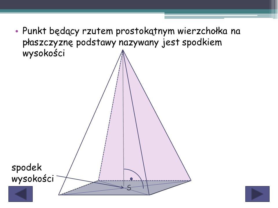 Punkt będący rzutem prostokątnym wierzchołka na płaszczyznę podstawy nazywany jest spodkiem wysokości S spodek wysokości
