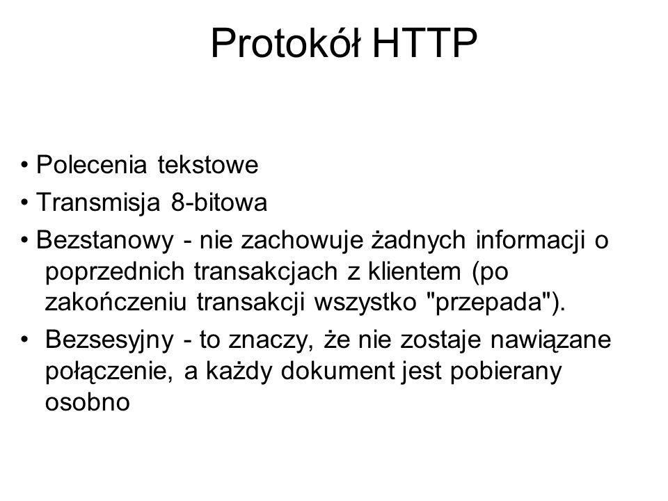 Zadania serwera HTTP Obsługa żądań HTTP Rejestracja żądań Uwierzytelnianie i kontrola dostępu Kryptografia (szyfrowanie) Wybór wersji językowej wysyłanych plików
