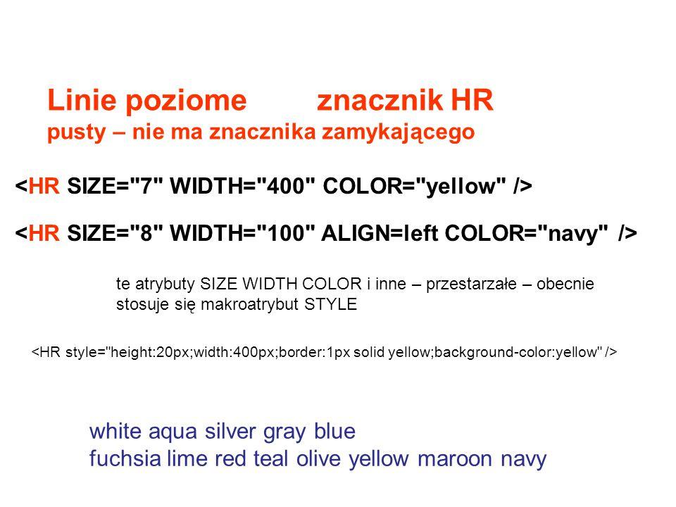 Wybrane znaczniki … Przykłady: Tytuł Tytuł2 Nagłówek pierwszy Nagłówek drugi Nagłówek trzeci Nagłówek czwarty Nagłówek piąty Nagłówek szósty Akapit tekstowy - znacznik - Akapity nagłówkowe określonych gotowych stylów wybór kroju, koloru, rozmiaru czcionki przez atrybut style i jego cechy – o tym za chwilę Dawniej określał to znacznik ale niezalecany dla nowszych standardów HTML