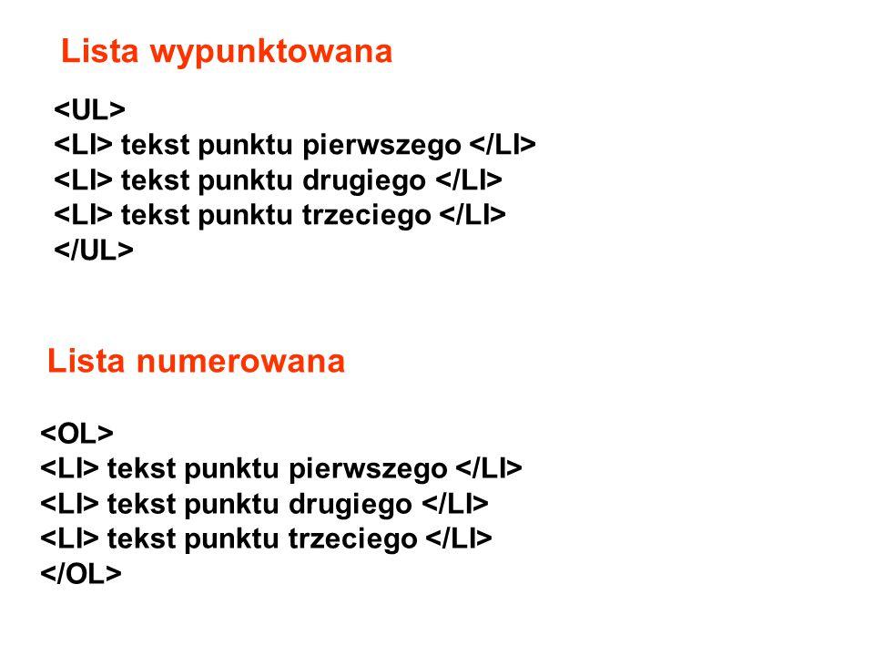 …. … znacznik wiersza … znacznik kolumny Przykład: AA AB BA BB CA CB Tabele