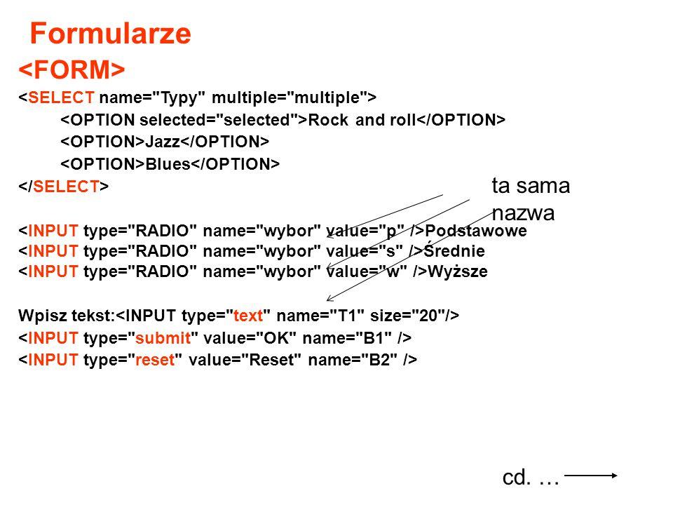 Odsyłacze (link – hiperłącze) Tekst (lub obrazek), który należy kliknąć Np.