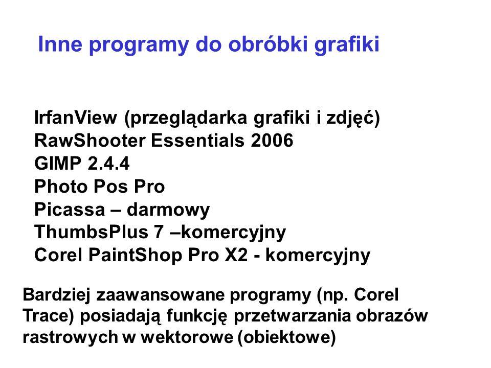 specjalizowane programy służące do tworzenia i edycji map bitowych, nazywanych także grafiką rastrową: Photoshop, CorelDraw Suite, Paint (Windows ) Do obróbki grafiki wektorowej wykorzystuje się m.in: CorelDraw, PageMaker, Adobe Illustrator, Visio.
