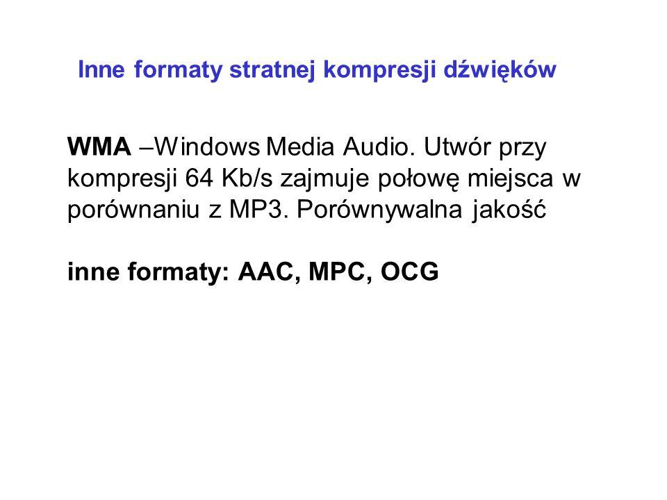 mp3 Kompresja innych mediów kompresja dźwięku z wkalkulowaną stratą jakości (m.in. usuwanie b. wysokich i b. niskich częstotliwości, cichych dźwięków)