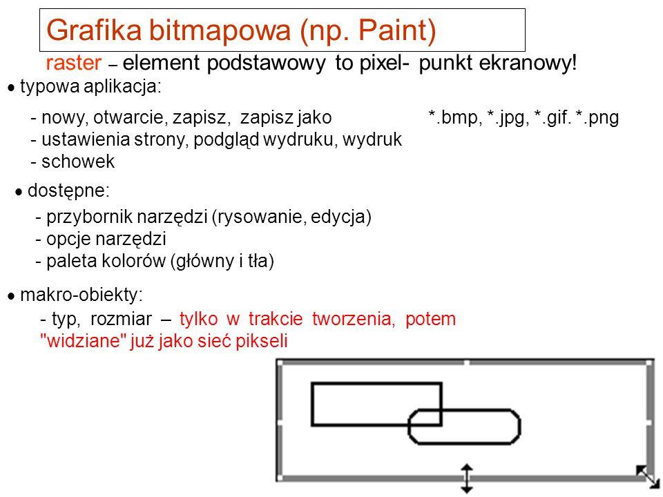 bitmapowa (rastrowa) - np. Paint, Photoshop wektorowa – np.Corel, narzędzia w pakiecie Office, Visio i inne Grafika Główny podział: