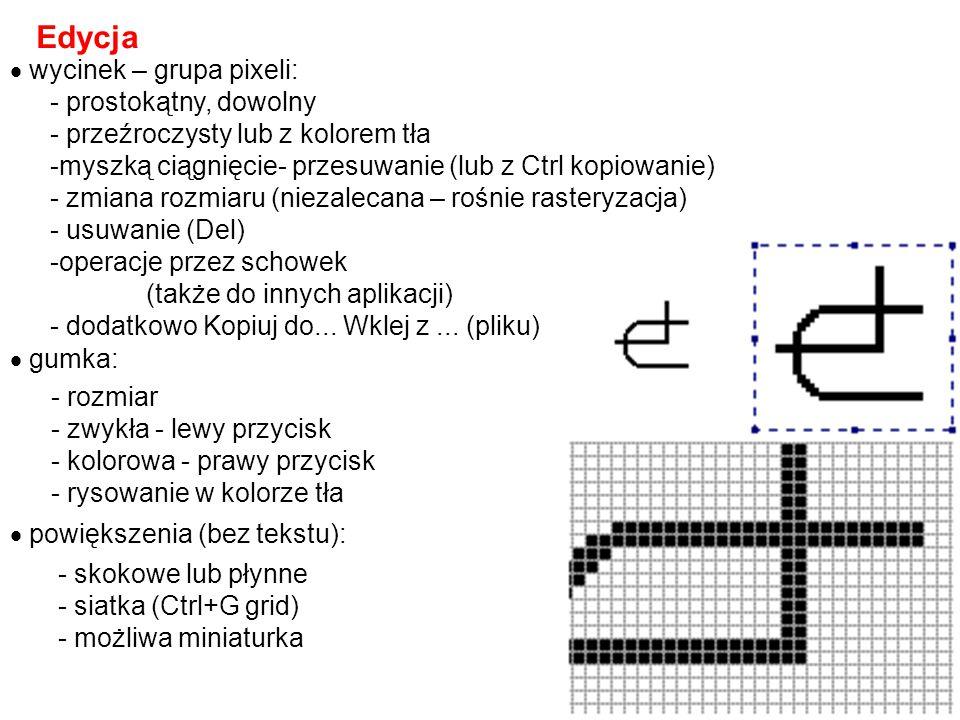 - linia pozioma, pionowa lub pod 45 0 - prostokąt  kwadrat - elipsa  okrąg Figury + tekst  kolory - główny i tła:  szczególne figury (dodany Shift):  udogodnienia: - rezygnacja - Esc - wycofanie Edycja  Cofnij, Ctrl+Z - powtórzenie Edycja  Powtórz, F4 - lewe albo prawe kliknięcie w kolor z palety - weź kolor + kliknięcie we fragment (lewe albo prawe)  tekst: - przeźroczysty lub z kolorem tła - czcionka, rozmiar + styl - prosta edycja - w trakcie pisania