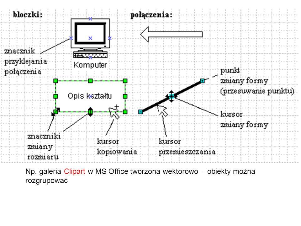 - przemieszczanie - przeciąganie - kopiowanie - zmiana rozmiaru - przeciągnięcie za znaczniki - kąt obrotu - większość może być opisywana tekstem (2x kliknięcie) lub pola tekstowe  własność kształtu: - można niekiedy przyklejać do bloczków lub innych połączeń - można modyfikować jak bloczki  połączenia:  operacje przez schowek  grupy kształtek: - zaznaczanie- Shift+kliknięcie - otaczanie - usuwanie, kopiowanie, przesuwanie, grupowanie (tworzy jeden obiekt z wielu)