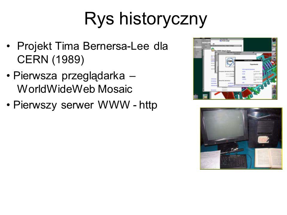 Wprowadzenie do aplikacji WWW Składniki architektury WWW – serwer HTTP – protokół HTTP – klient HTTP (hyper text transfer protocol) – przeglądarka WWW