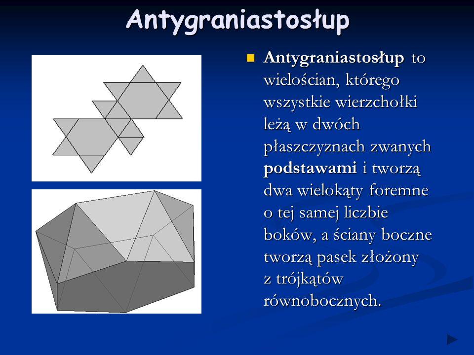 Wielościan foremny Dwunastościan (dodekaedr) ściana - pięciokąt foremny Dwudziestościan (ikosaedr) ściana - trójkąt równoboczny