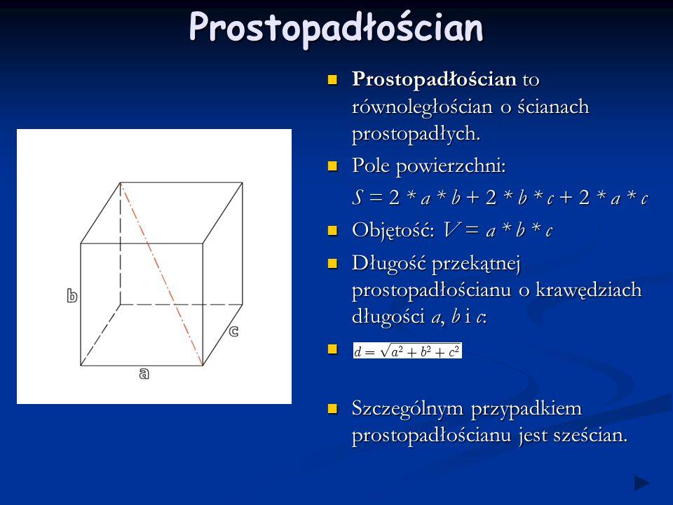 Prostopadłościan Prostopadłościan to równoległościan o ścianach prostopadłych.