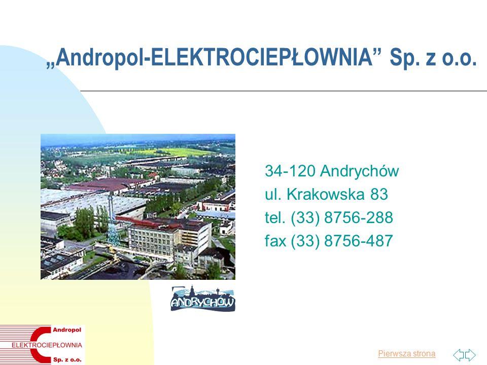 """Pierwsza strona """"Andropol-ELEKTROCIEPŁOWNIA Sp. z o.o."""