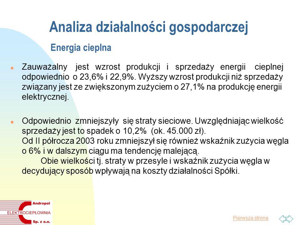 Pierwsza strona Analiza działalności gospodarczej Energia cieplna n Zauważalny jest wzrost produkcji i sprzedaży energii cieplnej odpowiednio o 23,6% i 22,9%.