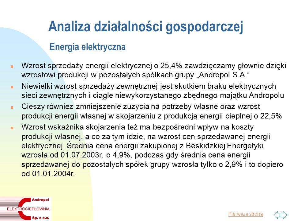 """Pierwsza strona Analiza działalności gospodarczej Energia elektryczna n Wzrost sprzedaży energii elektrycznej o 25,4% zawdzięczamy głownie dzięki wzrostowi produkcji w pozostałych spółkach grupy """"Andropol S.A. n Niewielki wzrost sprzedaży zewnętrznej jest skutkiem braku elektrycznych sieci zewnętrznych i ciągle niewykorzystanego zbędnego majątku Andropolu n Cieszy również zmniejszenie zużycia na potrzeby własne oraz wzrost produkcji energii własnej w skojarzeniu z produkcją energii cieplnej o 22,5% n Wzrost wskaźnika skojarzenia też ma bezpośredni wpływ na koszty produkcji własnej, a co za tym idzie, na wzrost cen sprzedawanej energii elektrycznej."""