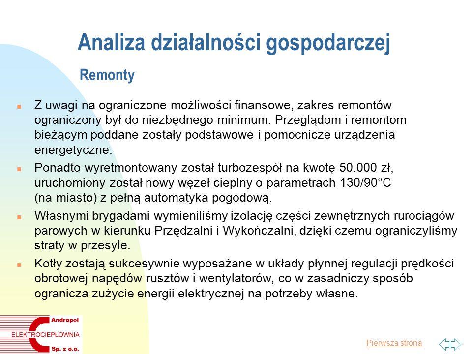 Pierwsza strona Analiza działalności gospodarczej Remonty n Z uwagi na ograniczone możliwości finansowe, zakres remontów ograniczony był do niezbędnego minimum.