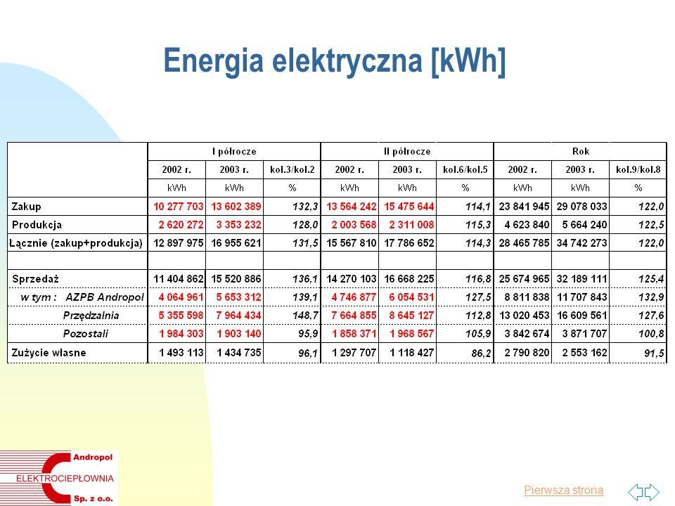 Pierwsza strona Energia elektryczna [kWh]