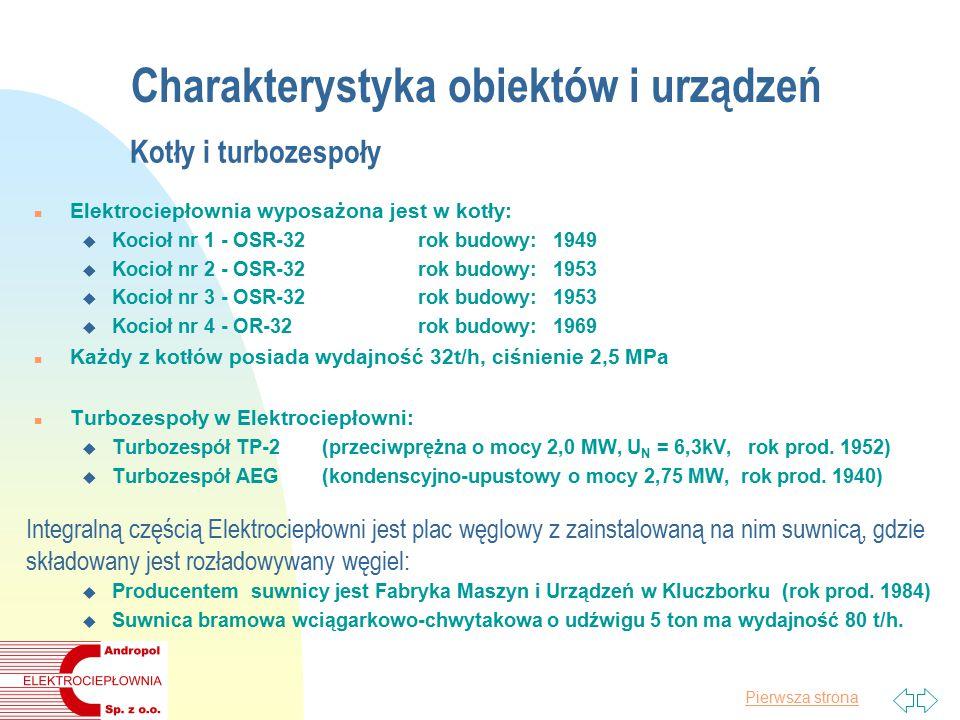 Pierwsza strona Charakterystyka obiektów i urządzeń Kotły i turbozespoły n Elektrociepłownia wyposażona jest w kotły: u Kocioł nr 1 - OSR-32rok budowy: 1949 u Kocioł nr 2 - OSR-32rok budowy: 1953 u Kocioł nr 3 - OSR-32rok budowy: 1953 u Kocioł nr 4 - OR-32rok budowy: 1969 n Każdy z kotłów posiada wydajność 32t/h, ciśnienie 2,5 MPa n Turbozespoły w Elektrociepłowni: u Turbozespół TP-2(przeciwprężna o mocy 2,0 MW, U N = 6,3kV, rok prod.
