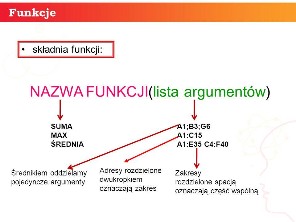 informatyka + 11 Funkcje składnia funkcji: NAZWA FUNKCJI(lista argumentów) SUMA MAX ŚREDNIA A1;B3;G6 A1:C15 A1:E35 C4:F40 Średnikiem oddzielamy pojedy