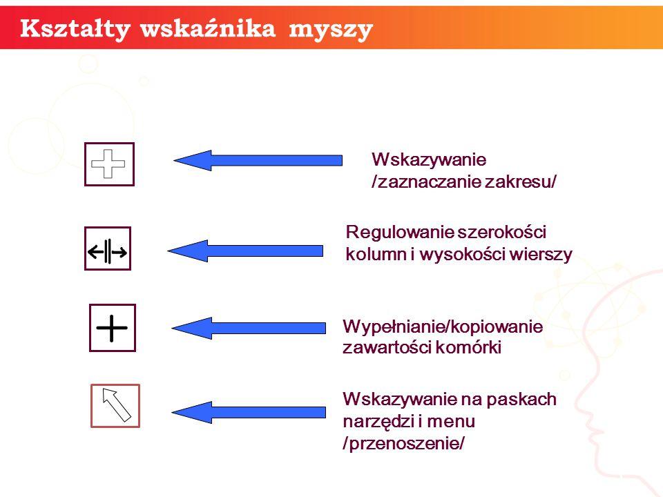 informatyka + 5 Kształty wskaźnika myszy Wskazywanie /zaznaczanie zakresu/ Regulowanie szerokości kolumn i wysokości wierszy Wskazywanie na paskach na
