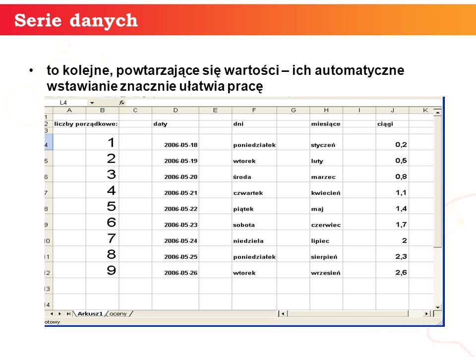 informatyka + 7 Serie danych to kolejne, powtarzające się wartości – ich automatyczne wstawianie znacznie ułatwia pracę