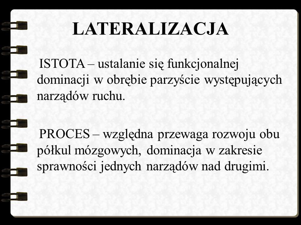 LATERALIZACJA ISTOTA – ustalanie się funkcjonalnej dominacji w obrębie parzyście występujących narządów ruchu.