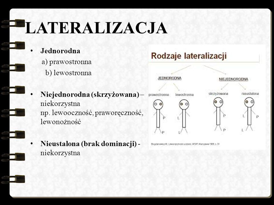 LATERALIZACJA Jednorodna a) prawostronna b) lewostronna Niejednorodna (skrzyżowana) – niekorzystna np.