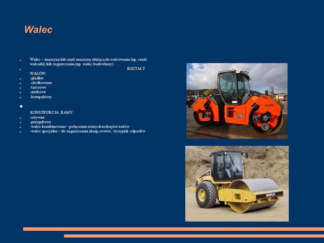 Walec Walec – maszyna lub część maszyny służąca do walcowania (np. część walcarki) lub zagęszczania (np. walec budowlany). KSZTAŁT WAŁÓW: -gładkie -ok
