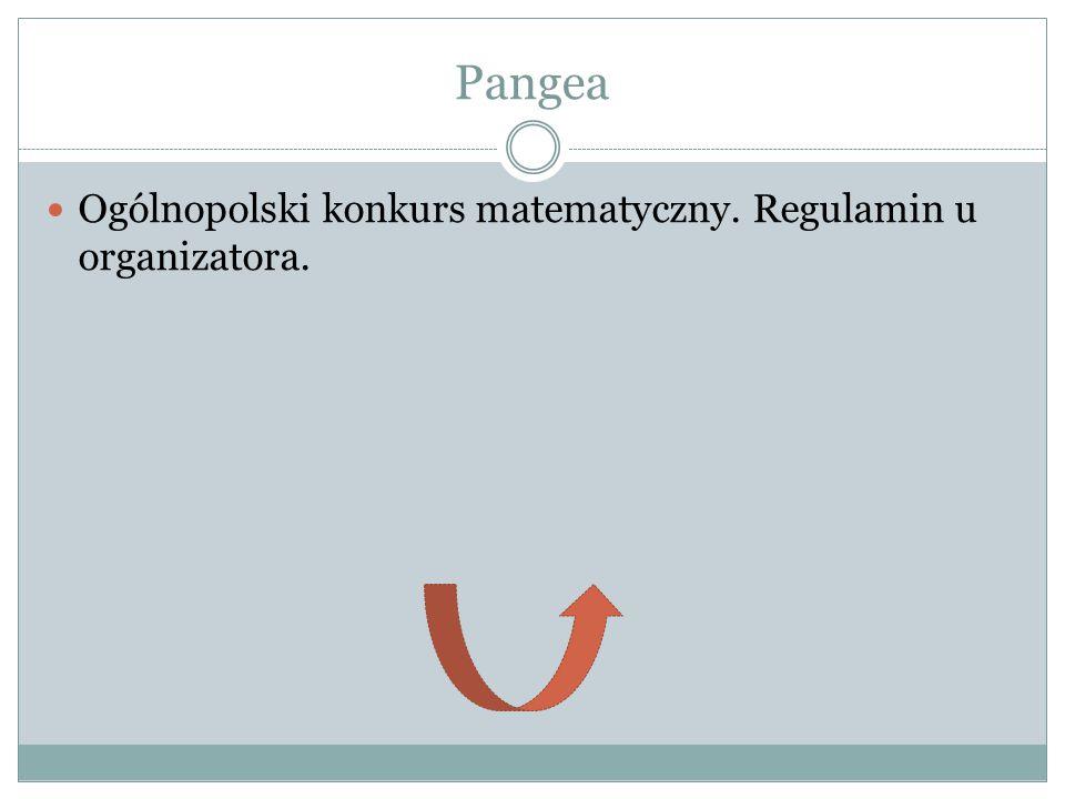 Pangea Ogólnopolski konkurs matematyczny. Regulamin u organizatora.