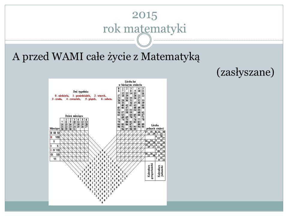 2015 rok matematyki A przed WAMI całe życie z Matematyką (zasłyszane)