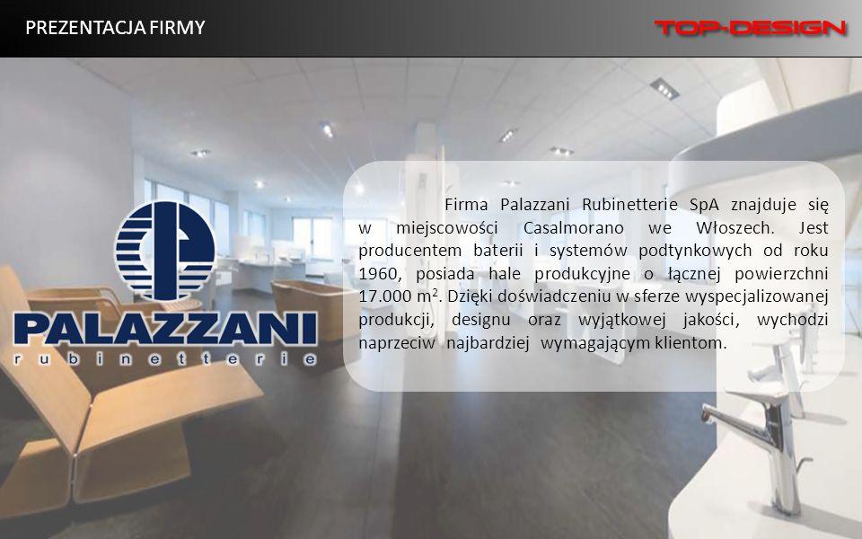 Firma Palazzani Rubinetterie SpA znajduje się w miejscowości Casalmorano we Włoszech. Jest producentem baterii i systemów podtynkowych od roku 1960, p
