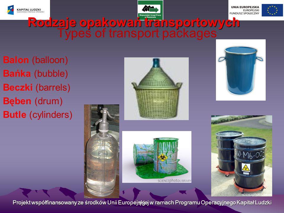 Projekt współfinansowany ze środków Unii Europejskiej w ramach Programu Operacyjnego Kapitał Ludzki 13 Rodzaje opakowań transportowych Types of transport packages Balon (balloon) Bańka (bubble) Beczki (barrels) Bęben (drum) Butle (cylinders)