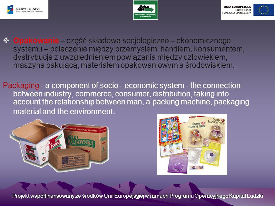 Projekt współfinansowany ze środków Unii Europejskiej w ramach Programu Operacyjnego Kapitał Ludzki 2  Opakowanie – część składowa socjologiczno – ekonomicznego systemu – połączenie między przemysłem, handlem, konsumentem, dystrybucją z uwzględnieniem powiązania między człowiekiem, maszyną pakującą, materiałem opakowaniowym a środowiskiem.