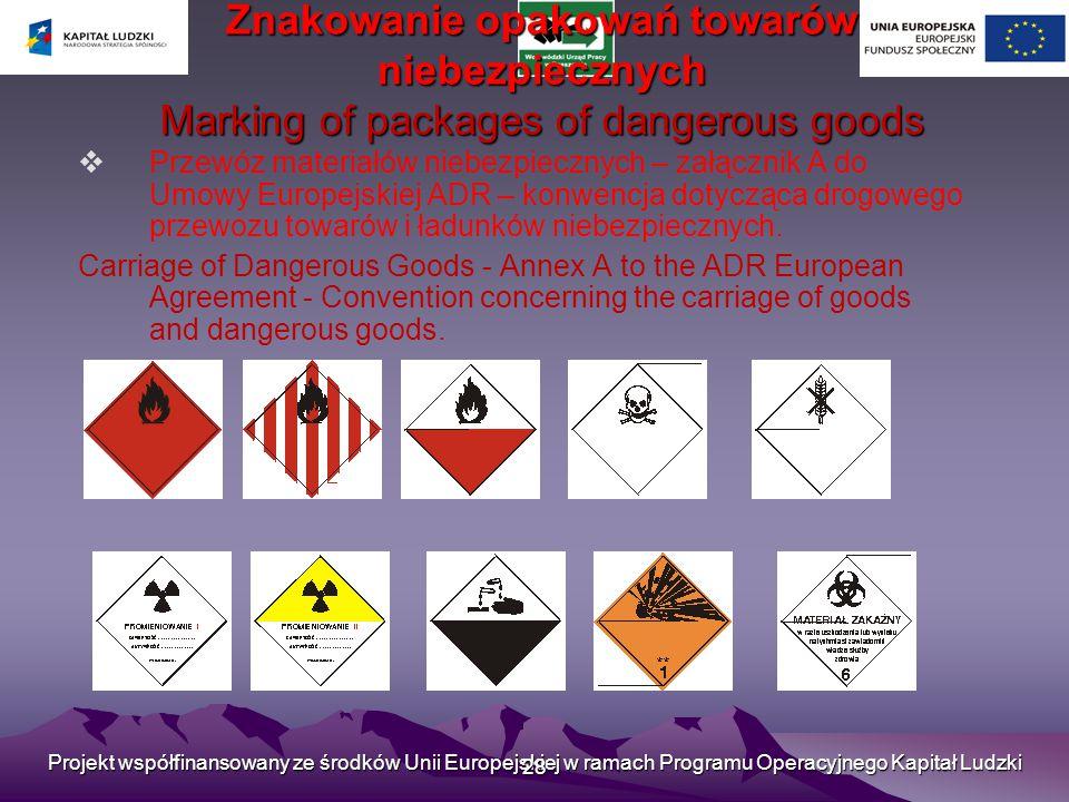 Projekt współfinansowany ze środków Unii Europejskiej w ramach Programu Operacyjnego Kapitał Ludzki 28 Znakowanie opakowań towarów niebezpiecznych Marking of packages of dangerous goods  Przewóz materiałów niebezpiecznych – załącznik A do Umowy Europejskiej ADR – konwencja dotycząca drogowego przewozu towarów i ładunków niebezpiecznych.