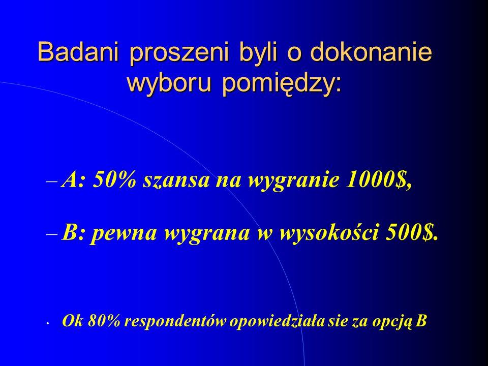 Badani proszeni byli o dokonanie wyboru pomiędzy: – A: 50% szansa na stratę 1000$, – B: pewna strata w wysokości 500$.
