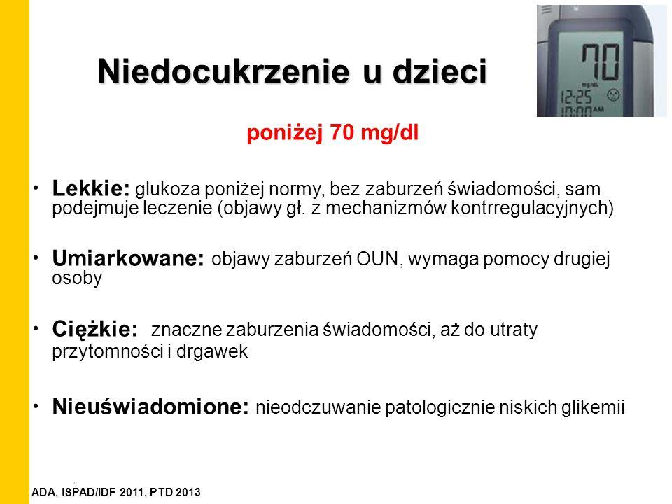, Niedocukrzenie u dzieci poniżej 70 mg/dl Lekkie: glukoza poniżej normy, bez zaburzeń świadomości, sam podejmuje leczenie (objawy gł. z mechanizmów k