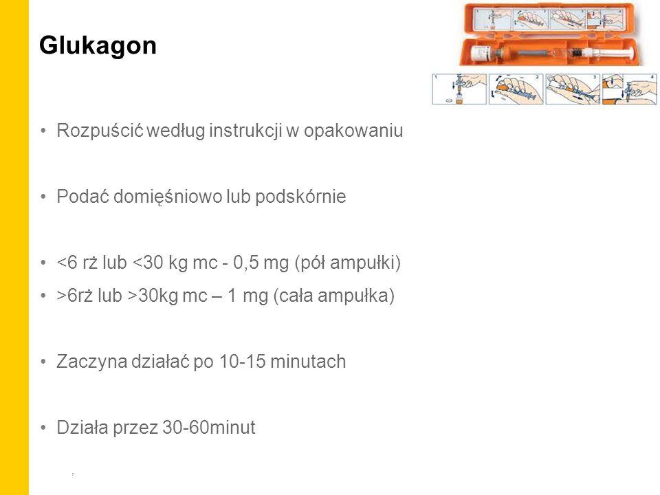 , Glukagon Rozpuścić według instrukcji w opakowaniu Podać domięśniowo lub podskórnie <6 rż lub <30 kg mc - 0,5 mg (pół ampułki) >6rż lub >30kg mc – 1