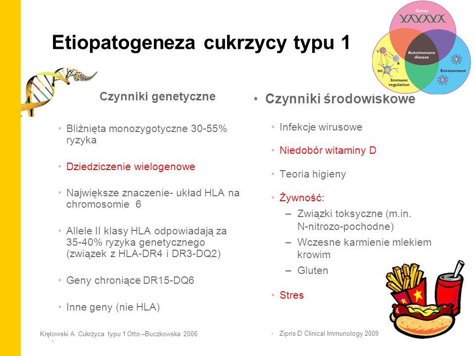 , Etiopatogeneza cukrzycy typu 1 Czynniki genetyczne Bliźnięta monozygotyczne 30-55% ryzyka Dziedziczenie wielogenowe Największe znaczenie- układ HLA