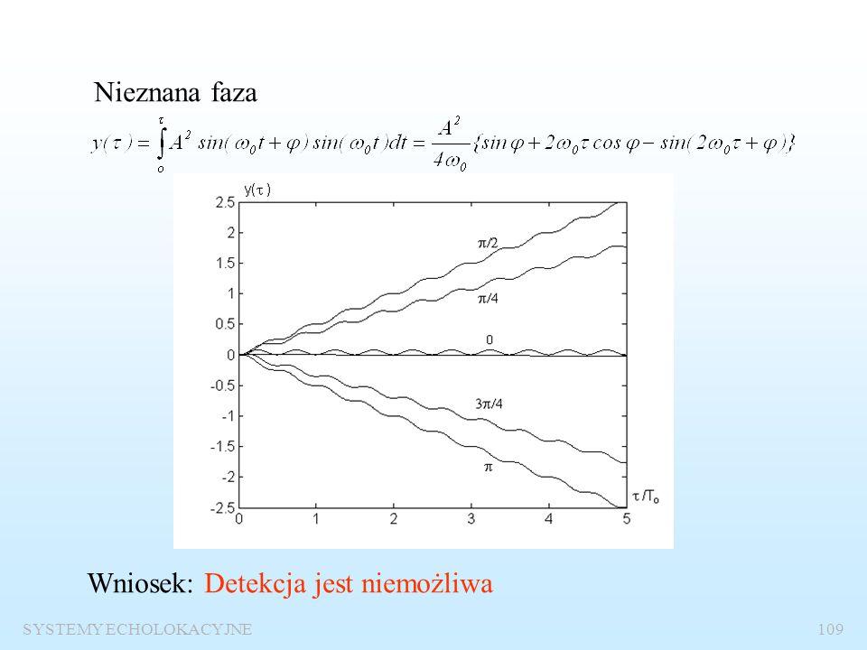SYSTEMY ECHOLOKACYJNE108 Odbiór sygnałów sinusoidalnych o nieznanych parametrach Znane wszystkie parametry